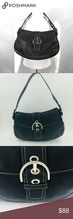 6ca885b0c4d1 Auth Coach large leather hobo w buckle flap 13 x 9 Excellent condition.  This bag · Black Leather BagsCoach ...