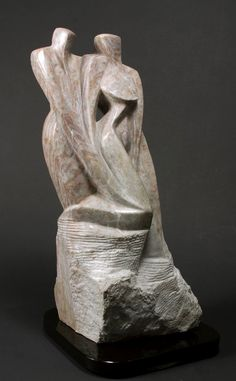Leaning on you  Stylized couple carved in by mapietreasures, $3800.00