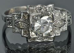 1.27 Carat Art Deco Ring Set in Platinum.