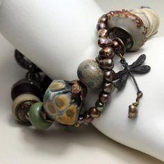 Lampwork Bracelet with Vintaj Antique by StoneDesignsbySheila, $148.00