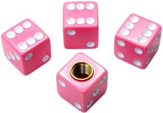 "Amazon.com : (4 Count) Cool and Custom ""Cube Playing Dice with Easy Grip Design"" Tire Wheel Rim Air Valve Stem Dust Cap Seal Made of Hardened Rubber {Hot Honda Pink and White Colors - Hard Metal Internal Threads for Easy Application - Rust Proof - Fits For Most Cars, Trucks, SUV, RV, ATV, UTV, Motorcycle, Bicycles} : Sports & Outdoors"