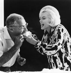 Marilyn Monroe and George Cukor celebrate Marilyn's 36th birthday on the set of Something's Got To Give.