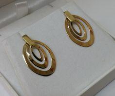 Vintage Ohrstecker - Ohrringe Gold 585 14 K Gold-Ohrstecker oval OR100 - ein…