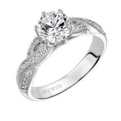 Artcarve Heirloom Calla 31-V200ERW-E #Engagementrings #diamonds #white #gold #pave #heirloom #artcarved #calla