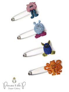 Little Monster Diaper Pins - Baby Shower, Monster, cloth diaper, diaper cover, Diaper Cake, Monster Baby Shower, Monster Birthday on Etsy, $5.49