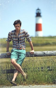 love this look for men, and especially the nautical belt!