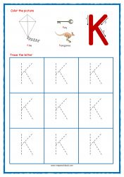 Tracing Letters - Letter Tracing Worksheets - Capital K - Free Preschool Printables Free Printable Alphabet Worksheets, Alphabet Writing Worksheets, Alphabet Writing Practice, Letter Worksheets For Preschool, Alphabet Tracing, Phonics Worksheets, Alphabet Book, Free Preschool, Preschool Printables