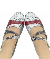 Cherry Splice - Womens twotone red black grey snake and python mary jane flats shoes