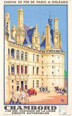 """chemins de fer de paris à orléans - Chambord - 1932 - illustration de Jean-Charles Hallo dit """"alo"""" - France -"""