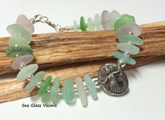 Mermaid Jewelry, Sea Glass Bracelet, Pastel Sea Glass, Beach Glass Bracelet…