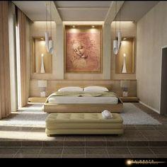 la pared detras de la cama es artistica y muy bien iluminada, me encanta!