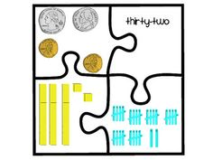 Two-digit number puzzles that includes a number, set of coins, tally marks, and base-10 blocks. Might use this for number talks