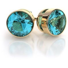 Bezel Set Swiss Blue Topaz Earrings in 18k Yellow Gold (1.0ctw)