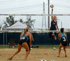 In late April, IVC's Women's Sand Volleyball team went 15-0 at home, beating Fullerton, Grossmont and Orange Coast each 5-0 in matches. It is Irvine Valley's second straight Intercollegiate Sand Volleyball Conference title! Go Lasers! Orange Coast, Volleyball Team, Athletics, Conference, Beats, Basketball Court, Running, Sports, Hs Sports