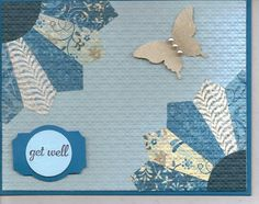 Stampin' Up! ... handmade quilt card ... Dresden Plate design in blues ... luv how the embossing folder texture embeds the pieces ...
