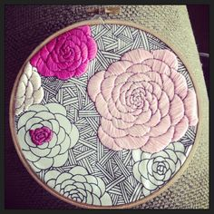 satin stitch roses on silk screened fabric
