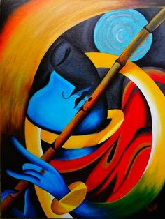 LORD KRISHNA - MODERN ART - Colors Of Life