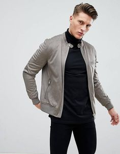 Shop the latest River Island Faux Suede Racer Jacket In Khaki trends with ASOS! Barbour Quilted Jacket Mens, Grey Leather Jacket, Suede Jacket, Bomber Jacket, Mens Outdoor Jackets, Mens Winter Coat, Mens Clothing Styles, Pulls, Men Casual