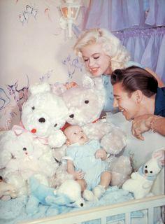 Jayne Mansfield with husband Mickey Hargitay and son Miklos  1959