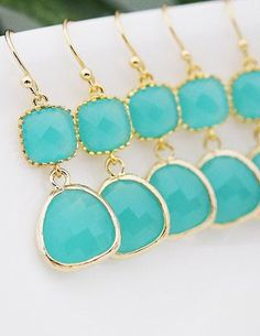 Bridesmaid jewelry {Set of 5} love this color!