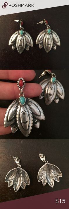 Silver pendent earrings Silver floral earrings with turquoise and red accent stones. Only worn once! Free People Jewelry Earrings