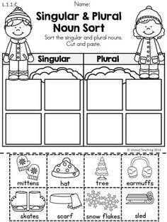 Singular and Plural Noun Sort >> Part of the Winter 1st Grade Literacy Worksheets packets.