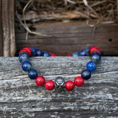 Lapis Lazuli, Howlite, Natural stones, Healing crystals Bracelets For Men, Beaded Bracelets, Sliding Knot, Healing Crystals, Black Stainless Steel, Pouch Bag, Marvel Heroes, Lapis Lazuli, Natural Stones