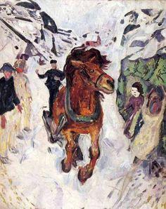 Galloping horse, 1912, Edvard Munch Size: 148x120 cm Medium: oil on canvas