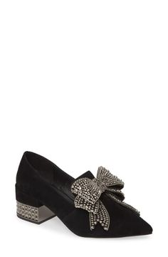 This pointy-toe pump makes the look with its glistening pavé block heel and elaborate jewel-encrusted bow. Style Name:Jeffrey Campbell Valensia Pump (Women). Style Number: Available in stores. Women's Pumps, Pump Shoes, Shoe Boots, Black Pumps, Black Suede, Shoe Art, Jeffrey Campbell, Block Heels, What To Wear