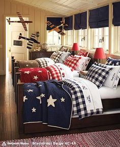 bunk room or sleeping porch ~ Kids Bedroom, Bedroom Decor, Kids Rooms, Triplets Bedroom, Childrens Rooms, Boys Shared Bedroom Ideas, Lego Bedroom, Star Bedding, Blue Bedding