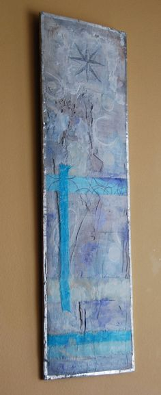 Sea Port - Abstract Ocean Sea - encaustic mixed media art with soldered frame