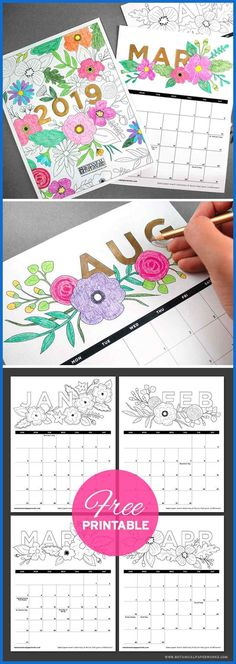 Plan for 2019 with this fun Free Printable Coloring Book Calendar! It's fill… Plan for 2019 with this fun Free Printable Coloring Book Calendar! It's filled will floral illustrations that you can color in. Free Printable Calendar, Printable Calendar Template, Printable Planner, Calendar Ideas, Free Printable Coloring Pages, Calendar Calendar, Filofax, Free Coloring, Coloring Books