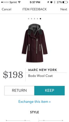 Andrew Marc (Marc New York) Bodo Wool Cot (Phoenix) in Burgundy. Hood and sweatshirt lining is fully removeable