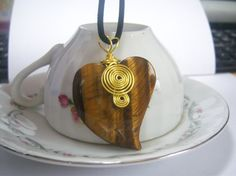Tiger's Eye Wire Wrapped Chic Boho Heart Shaped Stone Necklace, Trendy Jewelry, Handmade, Unique Stone Fashion Necklace, Unusual, OOAK,