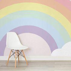 Children& pastel rainbow wallpaper mural - when it is bigger . Children& pastel rainbow wallpaper mural – if it is bigger … – Rainbow Room Kids, Rainbow Bedroom, Rainbow Nursery, Nursery Wallpaper, Kids Wallpaper, Nursery Murals, Wallpaper Murals, Girls Bedroom Mural, Playroom Mural