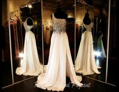 100EP036480365 - Fabulous One Shoulder Gown with Low Back in White with Gold Embellishments on the Burst and Straps... Only at Rsvp Prom and Pageant :) http://rsvppromandpageant.net/collections/long-gowns/products/100ep036480365
