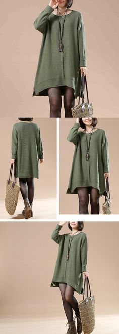 Green Cotton Casual Round Neck Knitting Sweater $58.00