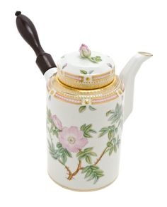 A Royal Copenhagen Flora Danica Chocolate Pot, of cylindrical form, having an ebony handle. Height 7 inches