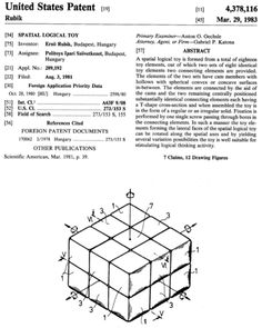 Erno Rubik, #patent, magic cube toy, rubik cube, 1980