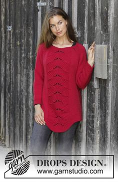 Free Knitting Pattern for a Lace Sweater Red Tulip. Skill Level: Intermediate Knitted jumper with raglan in DROPS Merino Extra Fine. Piece is knitted top down with rib displacement. Free Pattern More Patterns Like This! Knitted Mittens Pattern, Lace Knitting Patterns, Free Knitting, Drops Design, Lace Sweater, Top Pattern, Free Pattern, Red Sweaters, Pulls