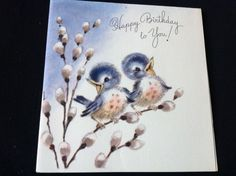 #658 Vtg Marjorie Cooper Card Blue Birds On Pussy Willow Happy Birthday To You!