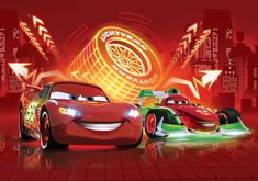"Large wall mural photo wallpaper for boy's room Cars 2 Disney McQueen ""Neon"" Cars 2 Movie, Cars 1, Disney Cars Wallpaper, Blue Jeep Wrangler, Best Cars For Teens, Large Wall Murals, Car Backgrounds, Pokemon, Lightning Mcqueen"