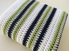 Crochet Blankets Ideas Ravelry: Green, blue and white stripe crochet blanket - Chain 106 plus 2 Row HDC (white) Row Tr (white) Row HDC (white) Row Tr (green) Row HDC (white) Row Tr (navy) Row HDC (white) Row Tr (green) Next repetition is navy-green-. Crochet Afghans, Striped Crochet Blanket, Afghan Crochet Patterns, Crochet Stitches, Crochet Hooks, Crochet Blankets, Baby Blankets, Crochet For Boys, Crochet Baby