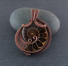 Ammonite Wire Wrapped Pendant (649) by WalelabyLynn on Etsy #wirejewelry