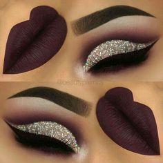 purple glitter cutcrease makeup with liquid lipstick eyeliner. - throp -Dark purple glitter cutcrease makeup with liquid lipstick eyeliner. Makeup Eye Looks, Cute Makeup, Pretty Makeup, Gorgeous Makeup, Glitter Eye Makeup, Lip Makeup, Makeup Eyeshadow, Eyeshadows, Eyeshadow Palette