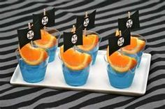 Pirate snacks - Blue Jell-O and Oranges