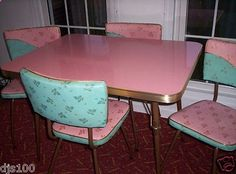 Vintage Kitchen Formica Table & Leaf 4 Chairs Turquoise Pink Elvis Style in Antiques, Furniture, Dining Sets, Plywood Furniture, Retro Furniture, Kitsch, Design Retro, Vintage Design, Design Design, 1950s Home Decor, Vintage Home Decor, Vintage Modern