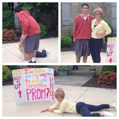 """""""I've fallen on my way to ask you something. Yes: Help me up. No: Call life alert"""" poster, dress as old person Formal Proposals, Cute Prom Proposals, Homecoming Proposal, High School Dance, School Dances, Disney Shirts, Quinceanera, Dance Proposal, Proposal Ideas"""