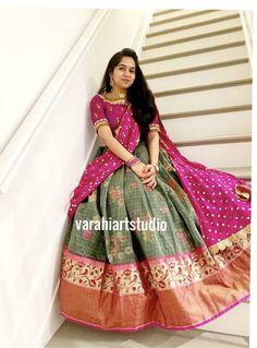 Girls Frock Design, Long Dress Design, Half Saree Lehenga, Half Saree Designs, Stylish Sarees, Frocks For Girls, Indian Outfits, Dress Patterns, Designer Dresses