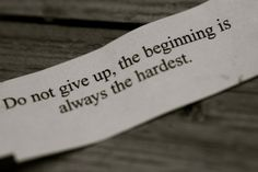 The beginning is the hardest!